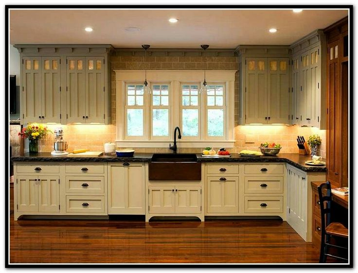 Upper cabinets kitchen pinterest kitchens house and for Bungalow style kitchen cabinets