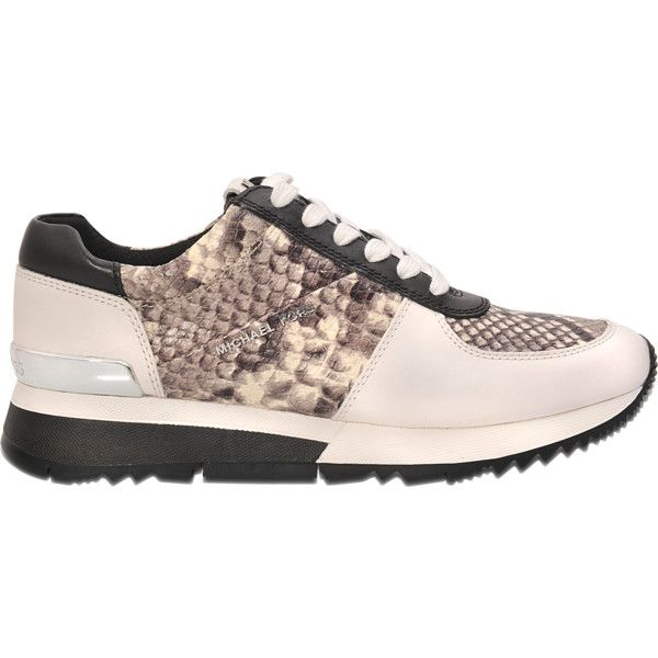 Michael Kors Allie trainer ($200) ❤ liked on Polyvore featuring shoes, sneakers, beige, snake print flats, lace up flat shoes, snake skin shoes, michael kors sneakers and lace up flats