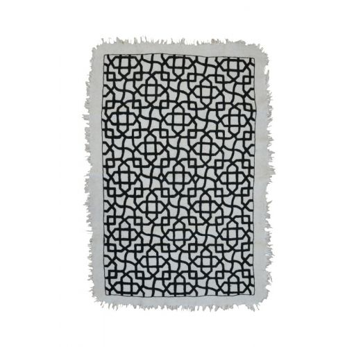 MUGHAL CARPET by TIKAU / Hand felted rug and hand embroidered pattern. Felted wool, 3 –5 % cotton, woolen embroidery. Size: 125x175 cm (size without the fringe) Colours: natural white/black