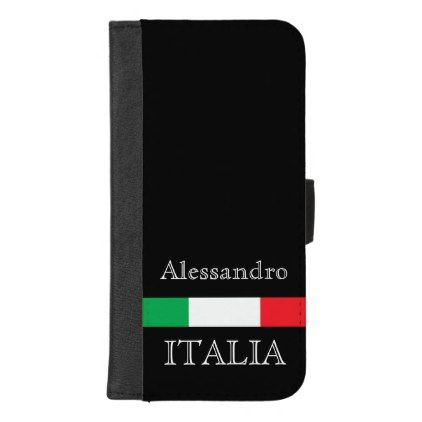 #Flag of Italy on black with name iPhone 8/7 Plus Wallet Case - #elegant #gifts #stylish #giftideas #custom