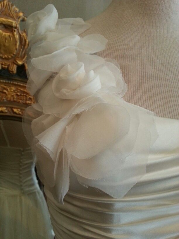 Deidre's Wedding Dress. . Sept 2013 Detail of chiffon flowers