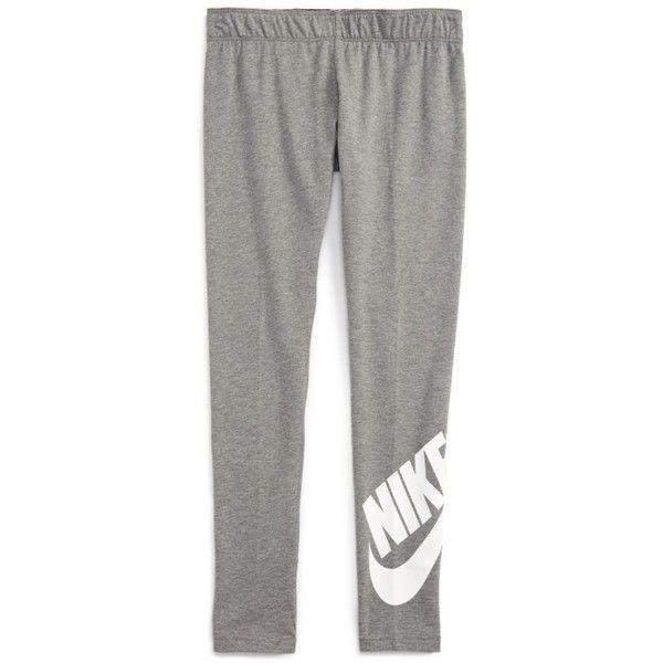 Girl's Nike Leg A See Logo Leggings ($23) ❤ liked on Polyvore featuring pants, leggings, nike trousers, nike leggings, white legging pants, stretch pants and white leggings