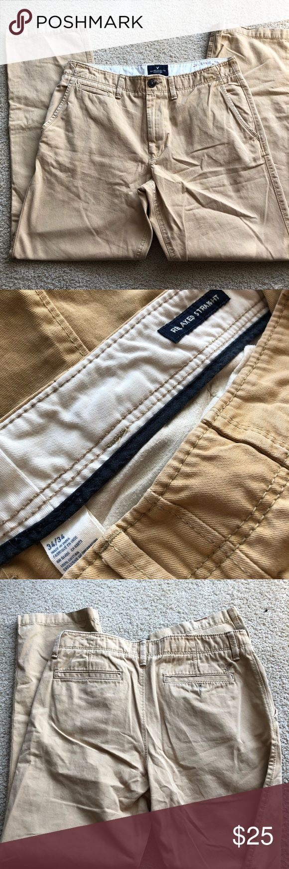 American Eagle Mens Khaki Pants Great condition men's American Eagle extreme khaki pants! Size 34 waist 34 length. Very comfortable! Coming from clean home with no smoking or pets. American Eagle Outfitters Pants Chinos & Khakis