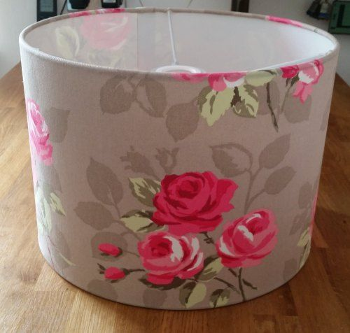 Drum Lampshade in Nancy Taupe Fabric