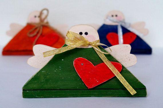 Christmas angel ornaments Christmas gifts Christmas decoration Wood angel Primitive Christmas ornaments