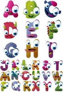 Cute cartoon Monster alphabet vector design set | Download PSD ...