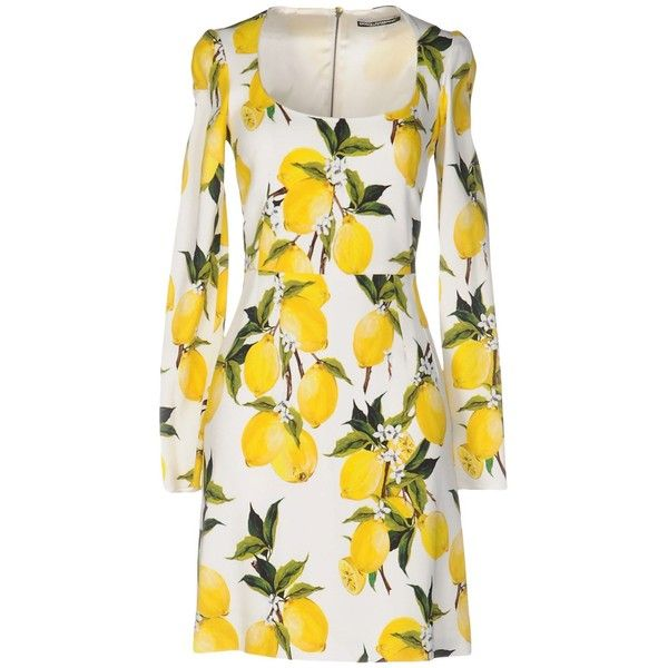 Dolce & Gabbana Short Dress ($1,435) ❤ liked on Polyvore featuring dresses, yellow, white long sleeve dress, long-sleeve mini dress, long sleeve dress, short white dresses and short dresses