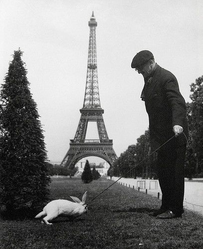 Man walking his rabbit, by the brilliant French photographer Robert Doisneau