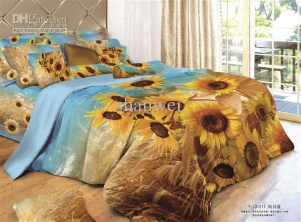 Wholesale quality sunflower yellow print cotton duvet doona cover sheet sets 4PC queen bedding comforter set, Free shipping, $97.83/Set | DHgate