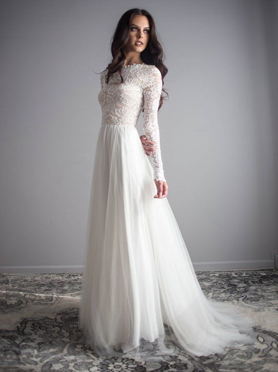 Long Sleeve Lace Wedding Dress with Silk Chiffon and Soft English Tulle Skirt – …
