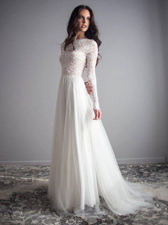 Long Sleeve Lace Wedding Dress With Silk Chiffon And Soft English Tulle Skirt Zoe Long Sleeve Wedding Dress Lace Wedding Dresses Lace Boho Wedding Dress Lace