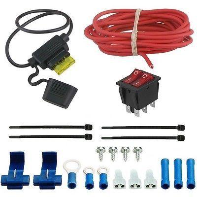 Dual Electric Radiator Fan Manual Rocker Switch Kit Wire Fans Chevy 305 350 383