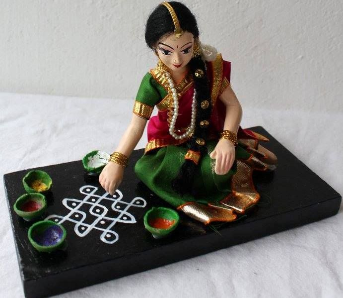 Hand made Doll with her kolam