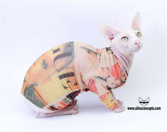 Sphynx Cat Clothes in VOGUE by Tattcat™ Long Sleeve Tattoo Chinese Crested Dog Sweater Cat hoodie