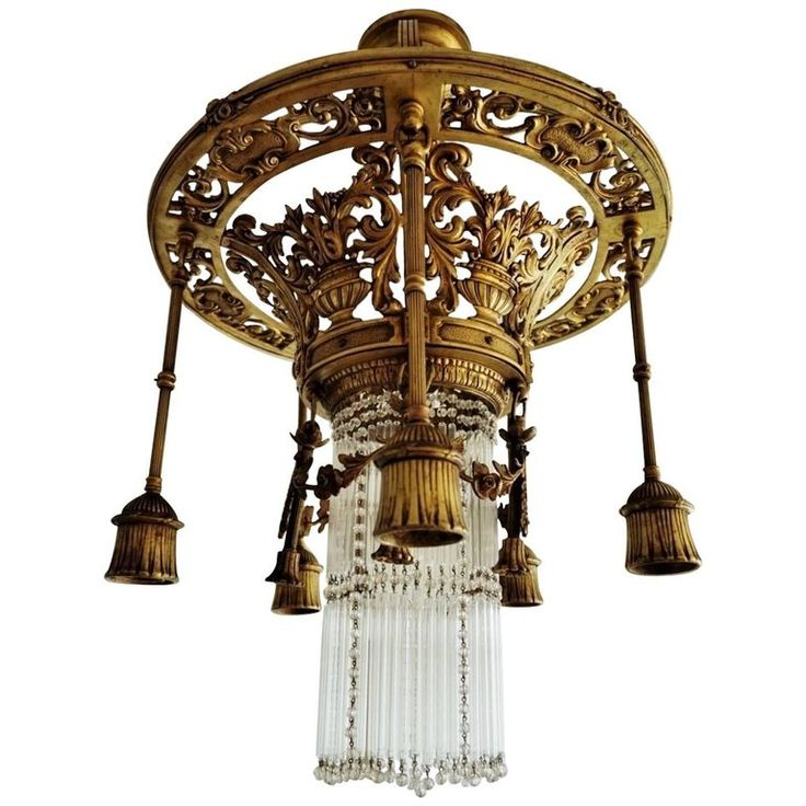 Late 19th Century French Empire Style Gilt Bronze Six-Light Chandelier  | 1stdibs.com