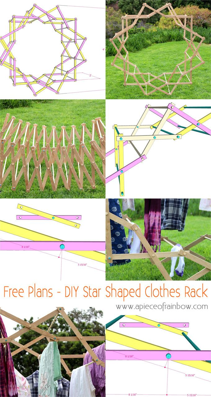 DIY Star Shaped Clothes Drying Rack: Make a beautiful star shaped clothes drying rack that magically expands, using very simple tools and materials! Detailed tutorial and free building plans. - A Piece Of Rainbow