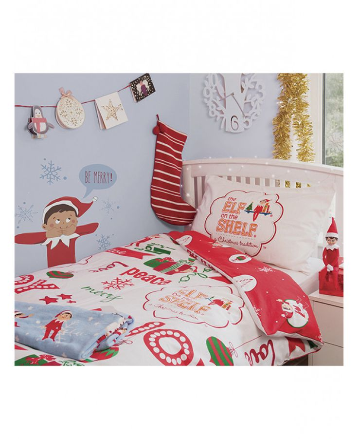 This cotton Elf on the Shelf Single Duvet Cover and Pillowcase Set is made from soft and snugly brushed cotton. Free UK delivery available.