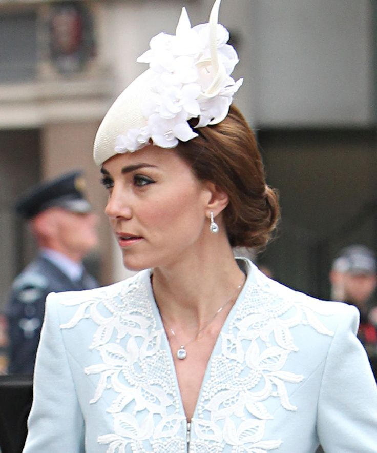 Kate Middleton Stuns in an Elegant Powder Blue Coat and Cream Fascinator from InStyle.com