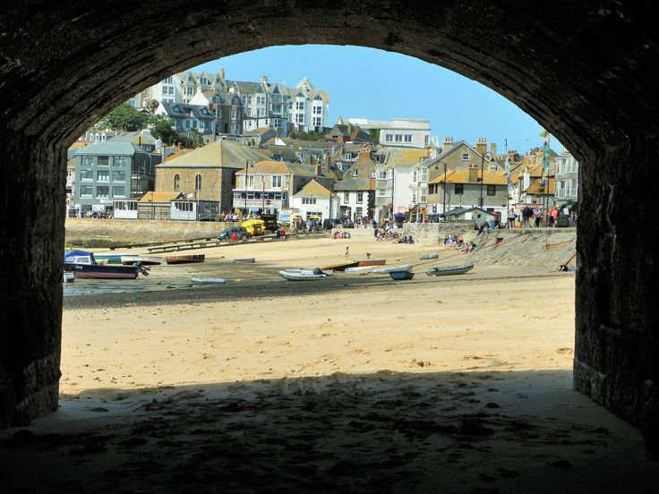 St Ives Harbour beach taken through the archway by Ian Badger. #Cornwall
