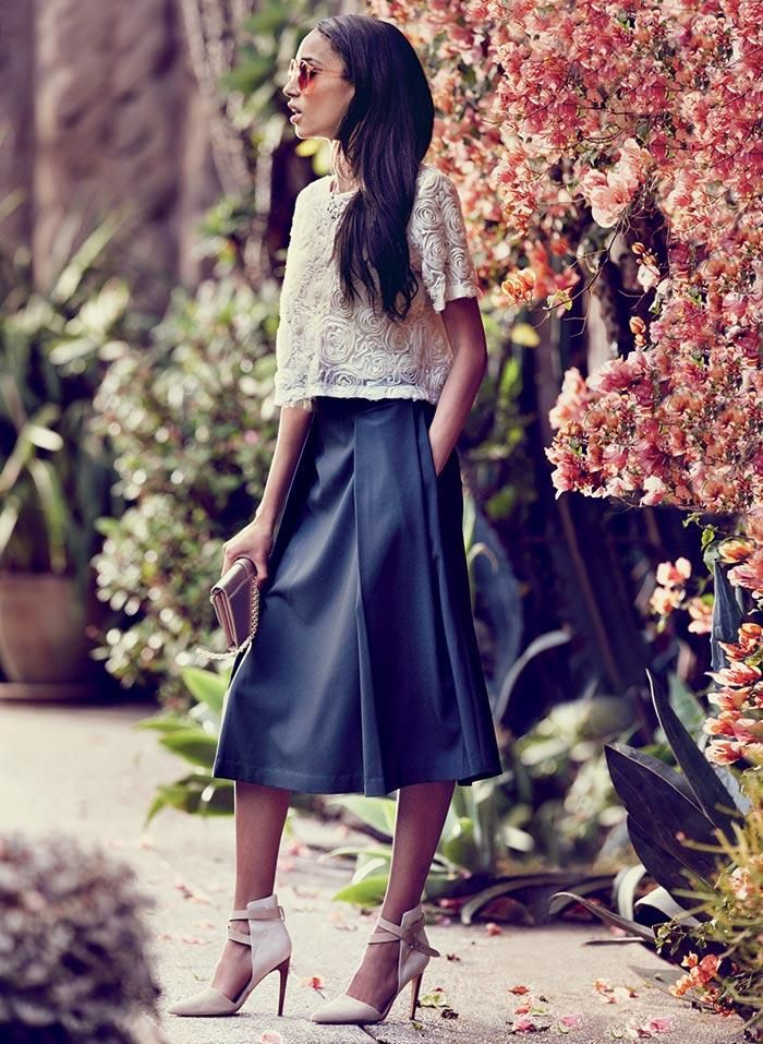 Loving the midi skirt paired with a floral top. So cute for Spring!: Midi Skirts, Lace Tops, Leather Midi Skirt, Leather Skirts, Pleated A Lin, Long Skirts, A Lin Midi, Mesh Tops, Pleated Midi Skirt
