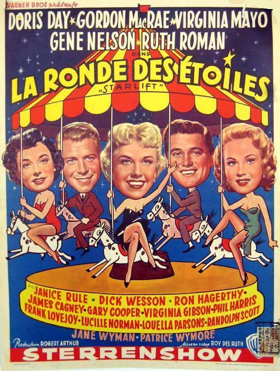 Doris' 7th movie … Starlift…1951 With Gordon MacRae, Gene Nelson, Ruth Roman, Virginia Mayo, James Cagney, Janice Rule, Dick Wesson and many more !