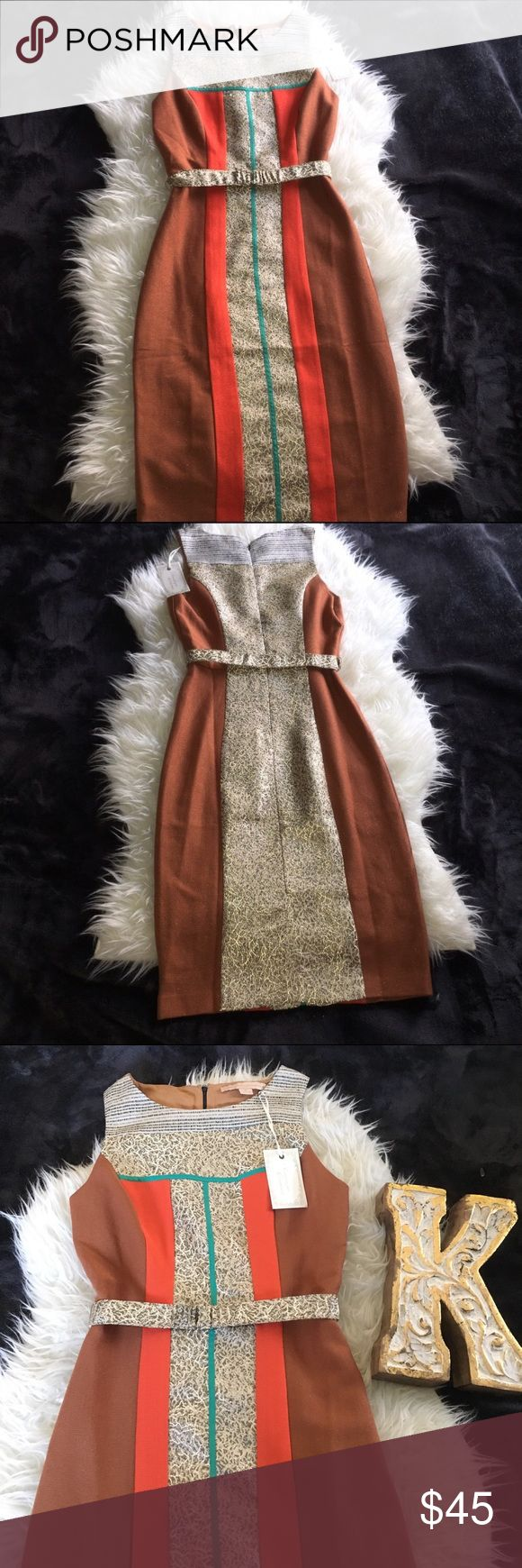 "Anthropologie Champagne & Strawberry Super cute Bodycon , Cinched belted waist super flattering, beautiful terra-cotta color with orange , real and gold detailing . Sparkly all over super elegant. Flat Lay measurement Chest: 16""       Waist: 13""   Hem: 42"" Anthropologie Dresses"