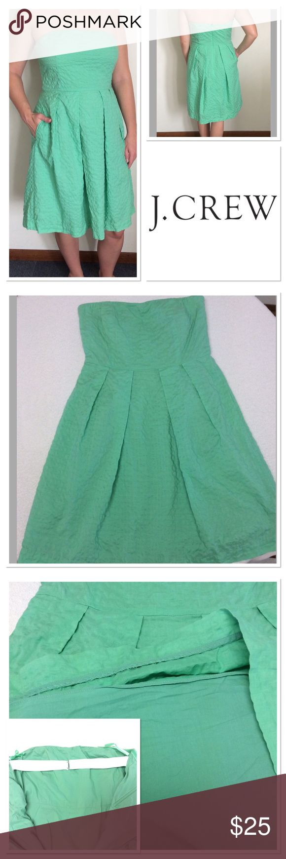 """8 J CREW green 100% cotton strapless dress Very cute and comfortable J. CREW green pleated textured cotton dress. Discreet pockets make this super casual and has elastic back strap for better fit. The dress is lined. Has to go as green is not my color, though it breaks my heart. I love this style of dress. Size tag has been removed and hangar straps are shortened to hang better.  Measurements taken laying flat: bust: 15.5"""" , length 30.5"""", empire waist 14.25"""" J. Crew Dresses Strapless"""