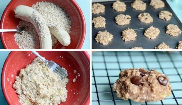 Super zdravé a rychlé fitness sušenky ze 2 ingrediencí.      2 banány (čím zralejší, tím lepší)     1 hrnek ovesných vloček (asi 80 g)