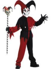 Boys Black and Red Evil Jester Costume -Horror, Gothic Costumes -Boys Costumes -Halloween Costumes - Party City