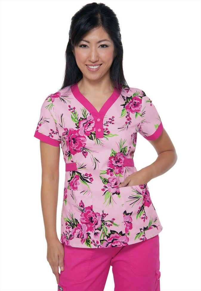 Koi Kourtney Brightside Flamingo print scrub top. - Scrubs and Beyond  #pink #print #scrubs #top #medical #uniform #nurse