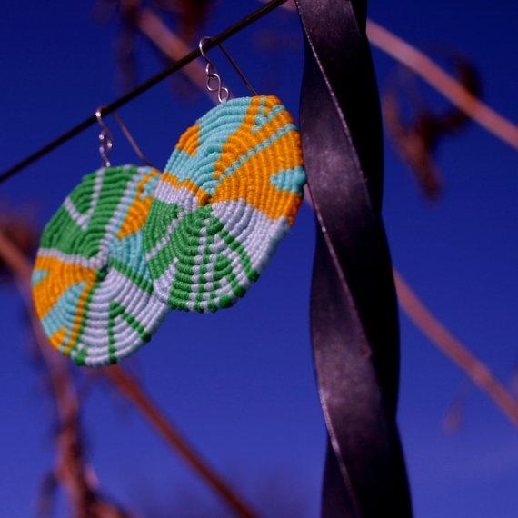 Grassy Robin's Egg Macrame Earrings