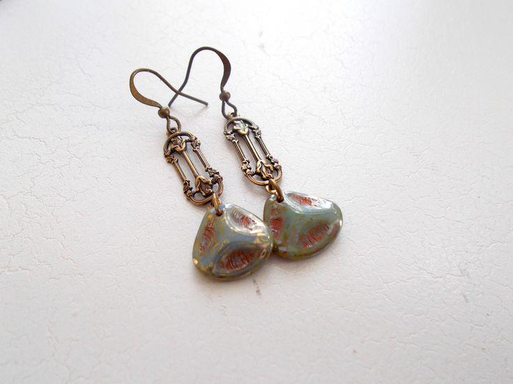 Czech Pressed Glass Art Deco Dangle Earrings by RicePaperJewels on Etsy