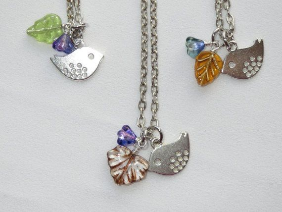 Little Bird Charm Necklace  Silver Lilac and Blue  OR by Thielen, $13.95
