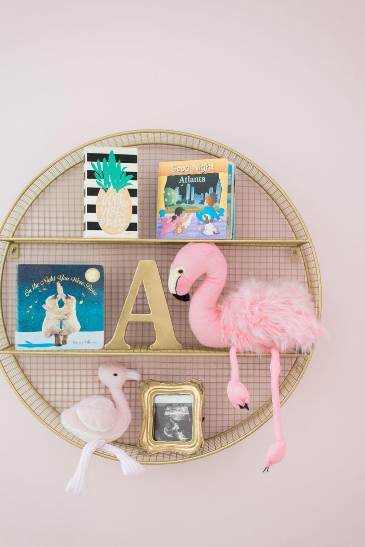 Baby girl nursery with #gold @target shelf. #flamingo #pink #flamingo #nursery #babygirl #gold #diy #pineapple #flamingos @potterybarnkids