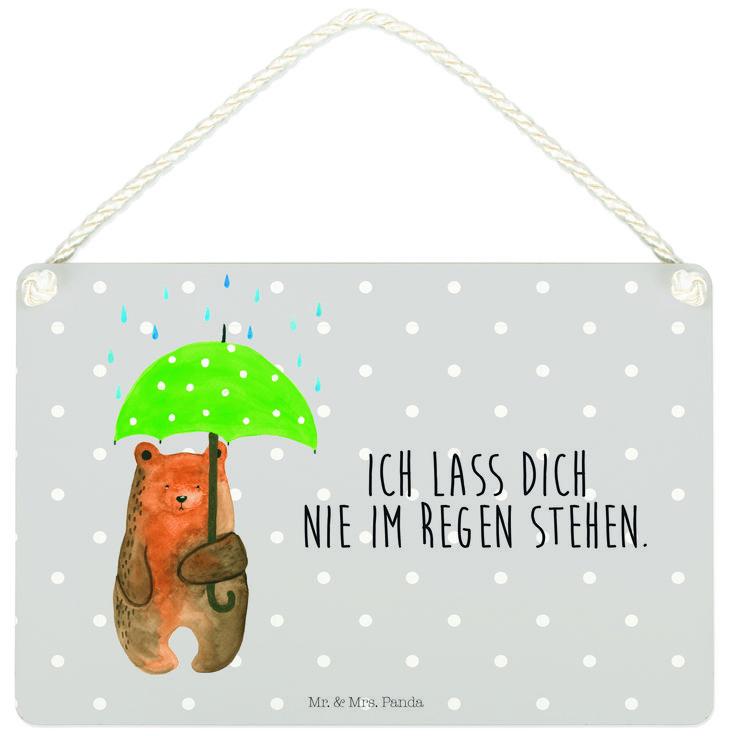 """Deko Schild Bär mit Regenschirm aus MDF  Weiß - Das Original von Mr. & Mrs. Panda.  Ein wunderschönes Schild aus der Manufaktur von Mr. & Mrs. Panda - die Schilder werden von uns direkt nach der Bestellung liebevoll bedruckt und mit einer wunderschönen Kordel zum Aufhängen versehen.    Über unser Motiv Bär mit Regenschirm  """"Ich lasse dich nie im Regen stehen"""" - das gilt für unsere Freunde, für unsere Familie und für unseren Partner. Und diesen besonderen Menschen kann man eigentlich nicht…"""