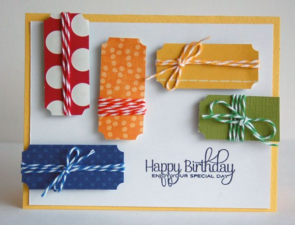 I can totally see using this design on a scrapbook page!: Cards Ideas, Happy Birthday, Cards Birthday, Cards Bday, Cards Tags, Twine Cards, Cute Birthday Cards, Cards Cool Pieces, Birthday Ideas