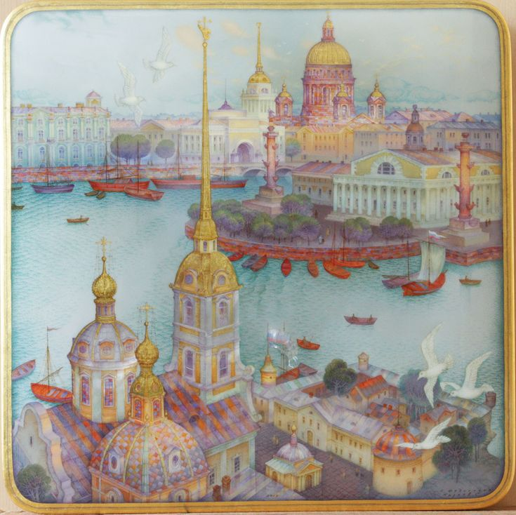 Kozlov Sergey, Fedoskino lacquer box, Sankt-Petersburg