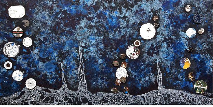 ARTES, DESARTES E DESASTRES CONTEMPORÂNEOS. Ascenção do tempo  (Time ascencion) Técnica mista: Acrílica, gel branco, colagem/assemblage de relógios e peças de relógio sobre tela (0,30 X 0,60)