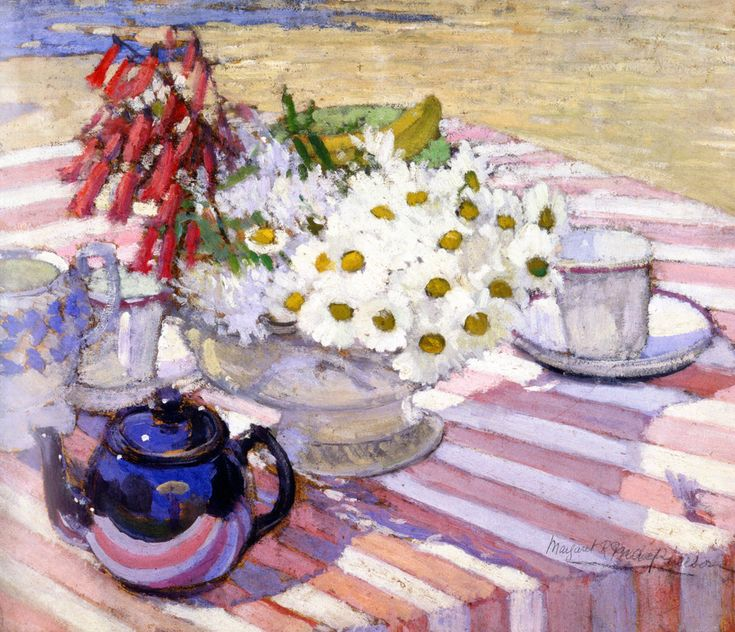Margaret-Preston-Still-life-with-teapot-and-daisies-1915