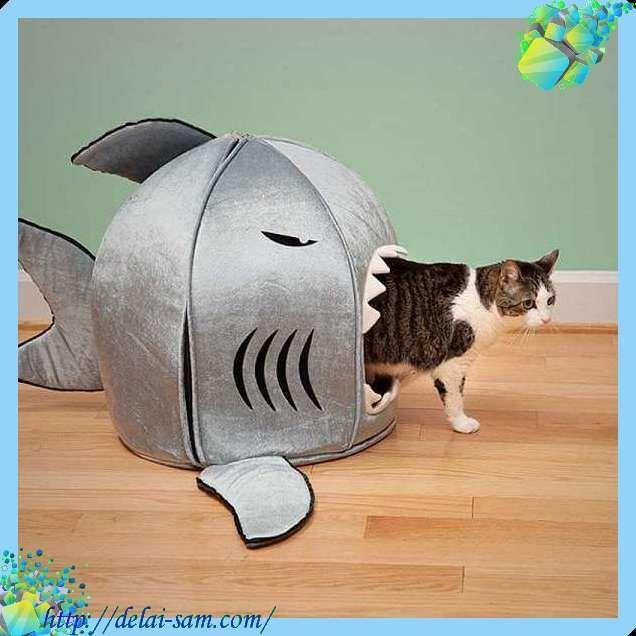 Домик для кошки в виде рыбы акулы