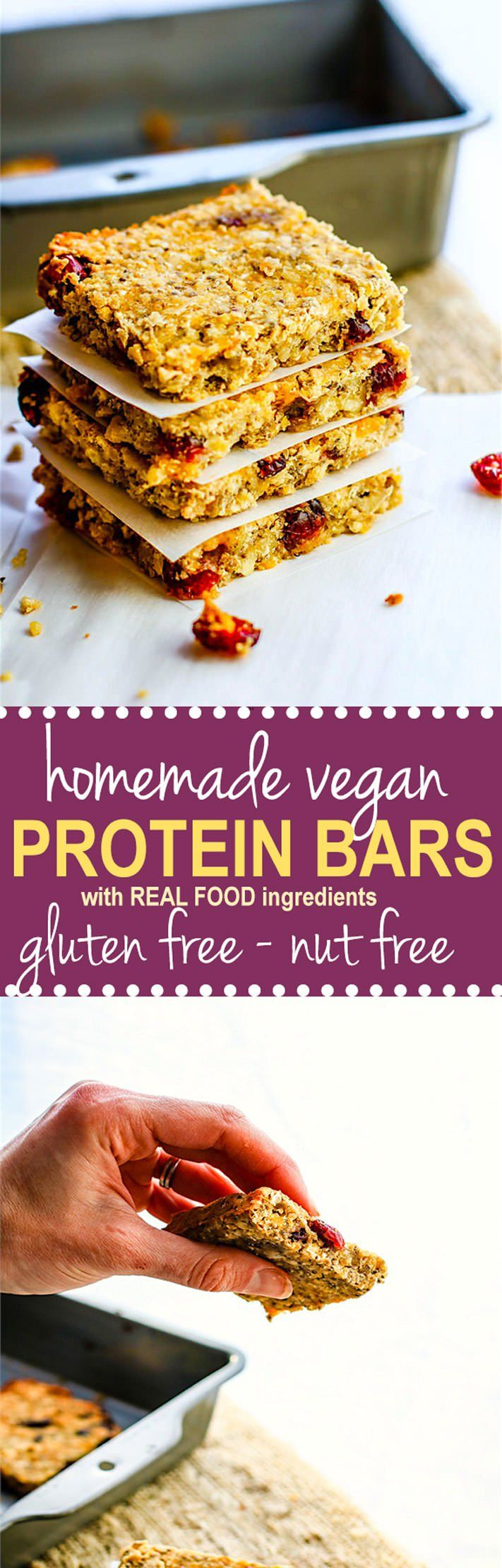 Vegan Protein Bars - No protein Powder Needed! Gluten free and nut free vegan protein bars made with simple wholesome protein rich ingredients. Delicious and easy to make!