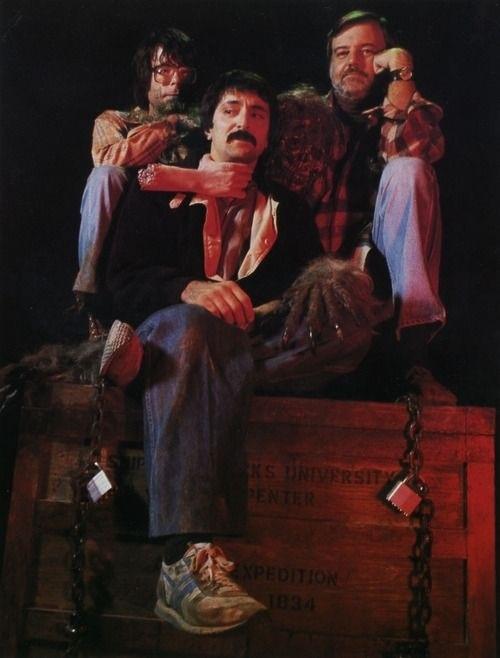 Masters of Horror Unite! Stephen King, Tom Savini & George Romero on the set of Creepshow. (1982)
