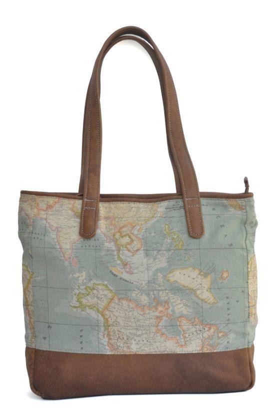 In pelle marrone e mondo mappa Atlante tessuto Tote Bag    Questa borsa è completamente foderata con tela per assicurarsi che sia forte e robusto. Ha