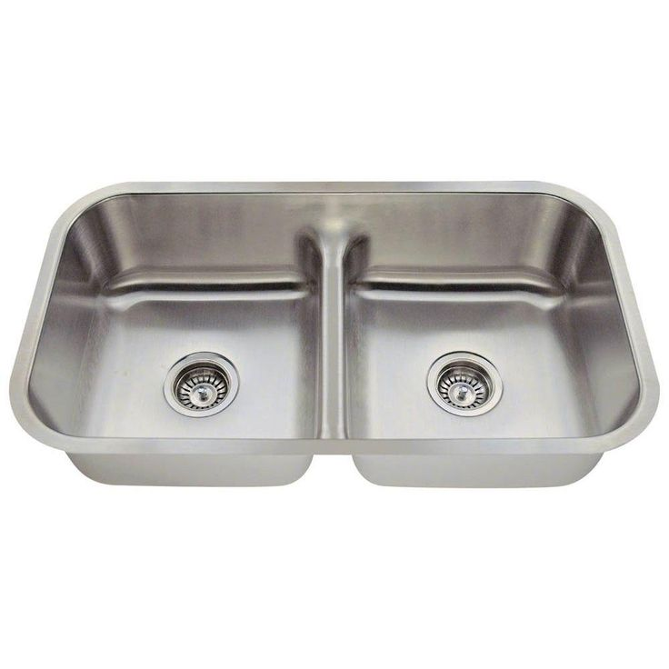 Undermount Stainless Steel (Silver) 32-1/2 in. Double Bowl Kitchen Sink