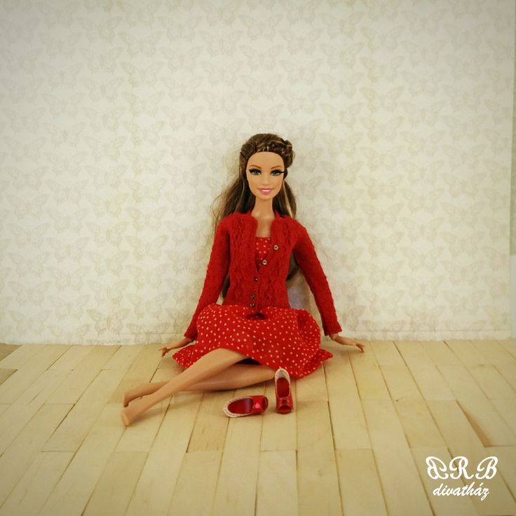 Handmade knitted cardigan and handmade shoes for Barbie doll