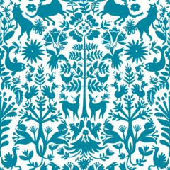 hygge & west removable wallpaper tiles--in a variety of prints and colors -- Otomi (Turquoise) Tile