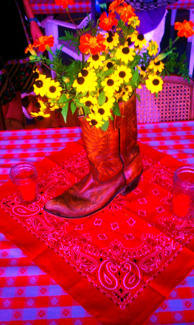 Engagement party centerpiece; Western theme.