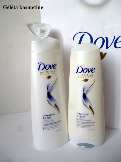 "Gėlėta kosmetinė: DOVE ""Nutritive Solutions"" shampoo and conditioner ""Intensive Repair"""