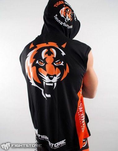 "Sleeveless Hoodie ""Signature"" Black & Orange - Tiger Muay Thai (XL)"