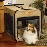 Day Tripper Soft Dog Crate by MidWest - The Day Tripper Soft Dog Crate is made from a tough polyester material that makes it both durable and long lasting. The Day Tripper is water resistant, yet features mesh sides for plenty of ventilation for your pet. Great for traveling or as a simple refuge for your pet in the backyard. The Day Tripper makes a great home for any pet. The Day Tripper Soft Dog Crate is a less expensive version of the Canine Camper that is perfect for warmer weather.